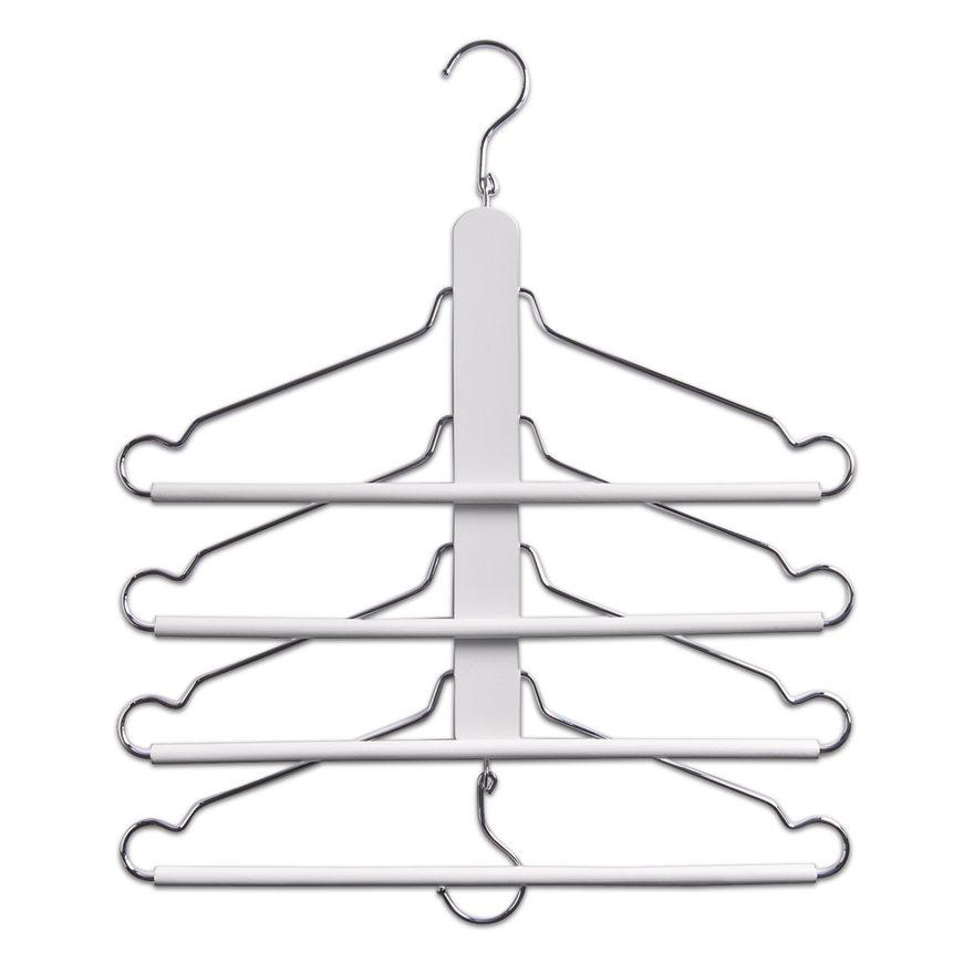 Mehrfach-Kleiderbügel, weiß, Buche/Metall,