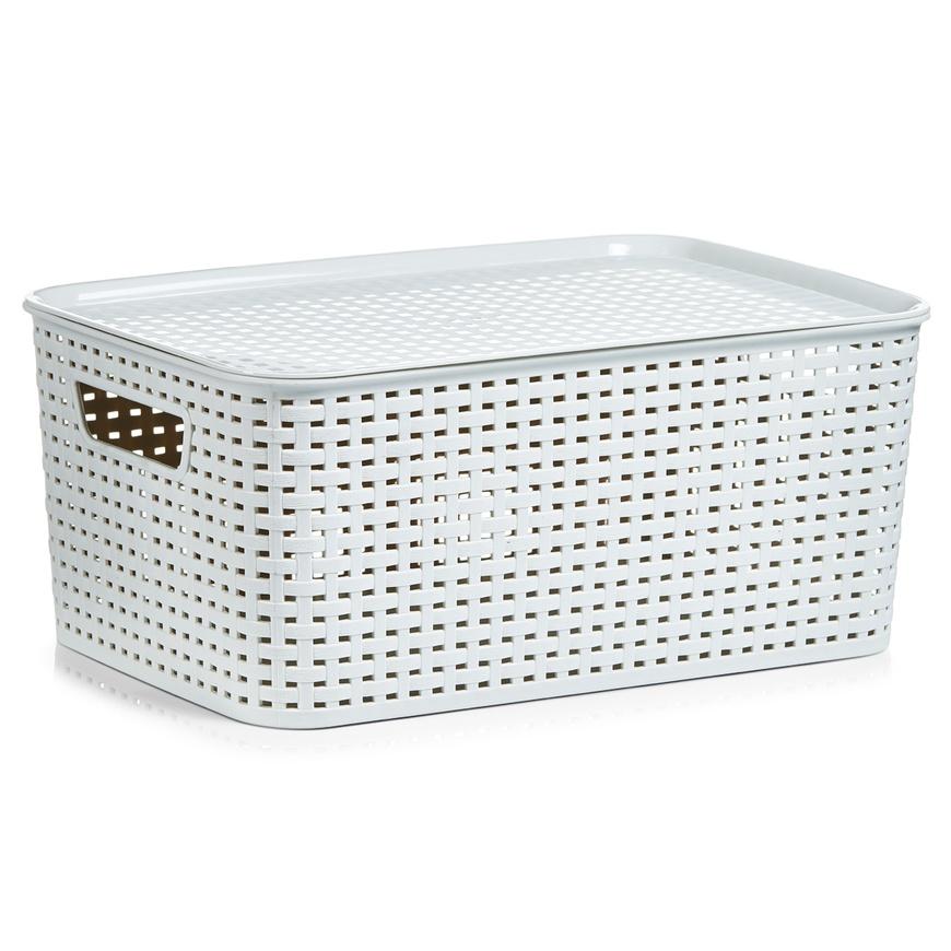 Stapelbox m. Deckel, beige, Kunststoff