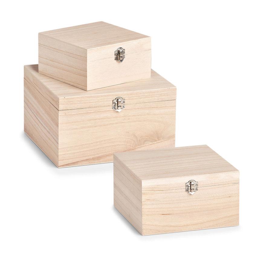 Aufbewahrungsbox, 3er Set, Holz