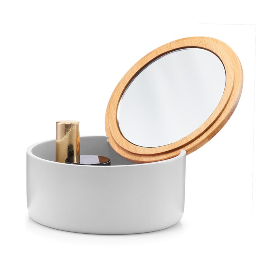 Schmuckkästchen m. Spiegel, rund, Polyresin, grau