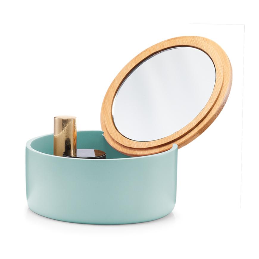 Schmuckkästchen m. Spiegel, rund, Polyresin, mint