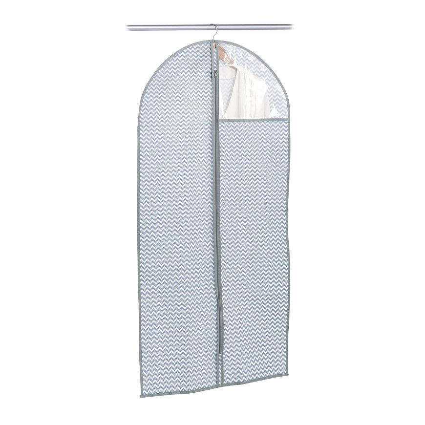Kleiderhülle m. Fenster, Vlies, weiß/grau