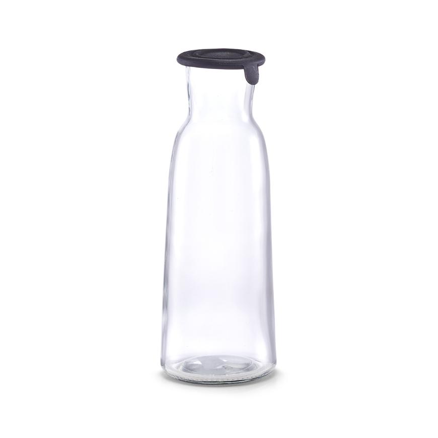 Glaskaraffe m. Silikondeckel, 1000 ml, schwarz