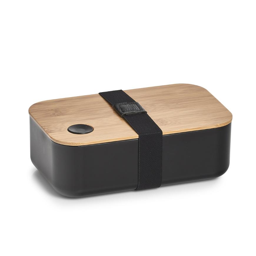 Lunch Box, Kunststoff/Bamboo, schwarz