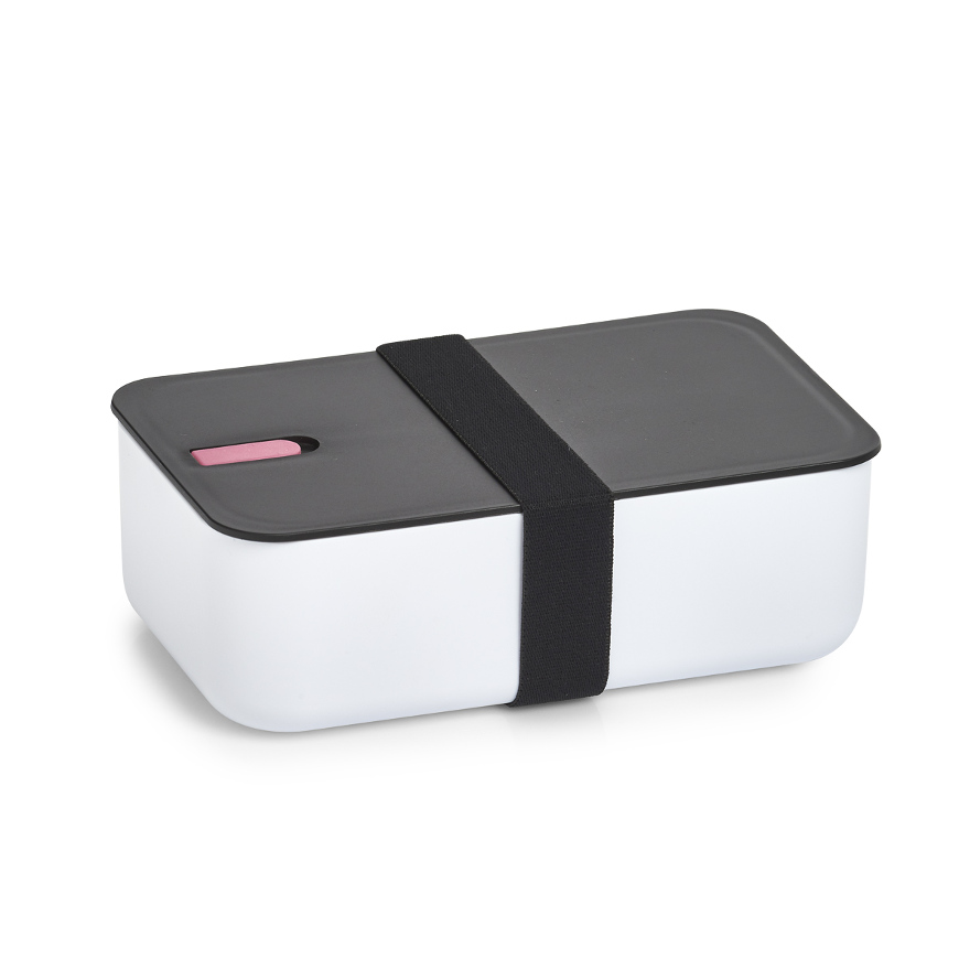 Lunch Box, Kunststoff, weiß/schwarz/pink