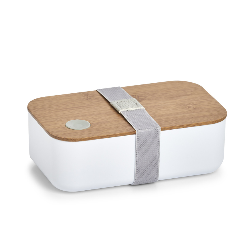 Lunch Box, Kunststoff/Bamboo, weiß