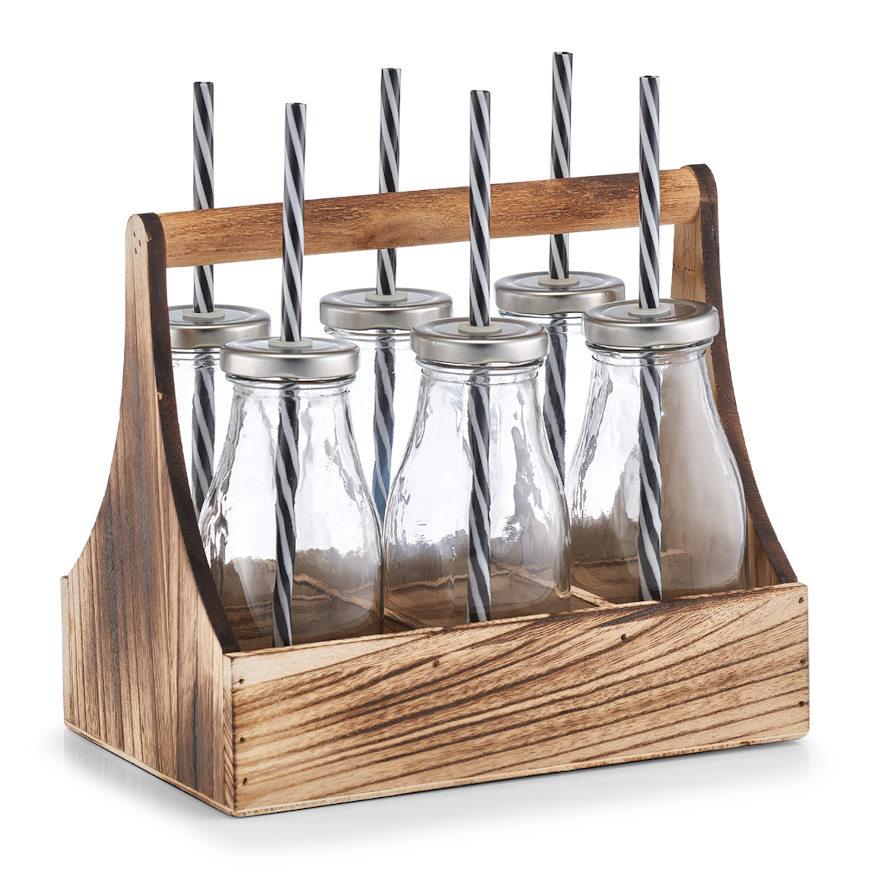 Trinkflaschen-Set in Kiste, 7-tlg., Glas/Holz