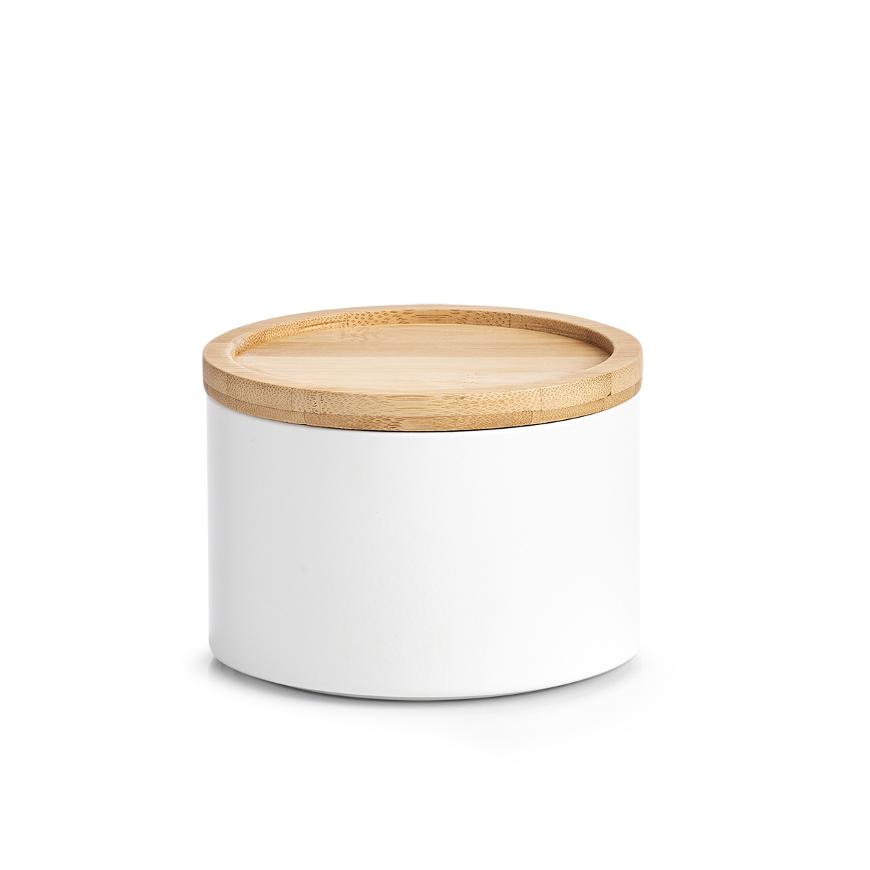 Vorratsdose, Metall/Bamboo, weiß