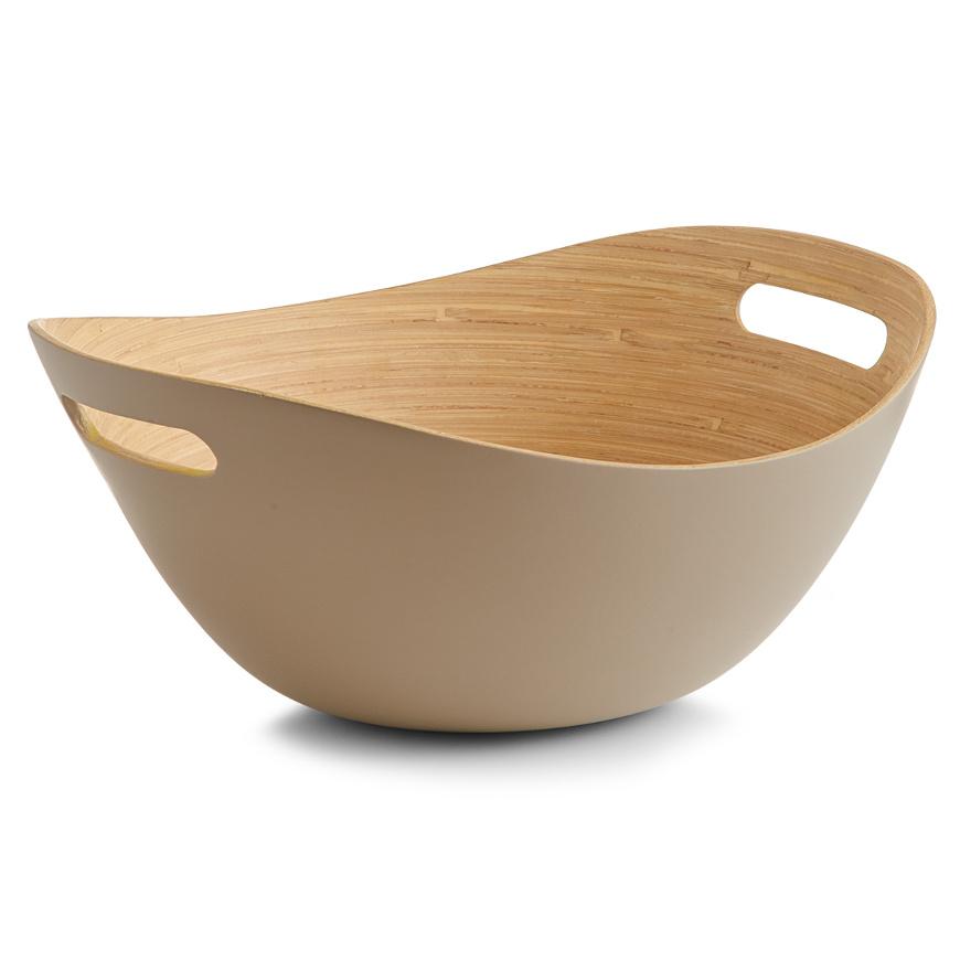 Salatschale m. Griffen, Bamboo, taupe