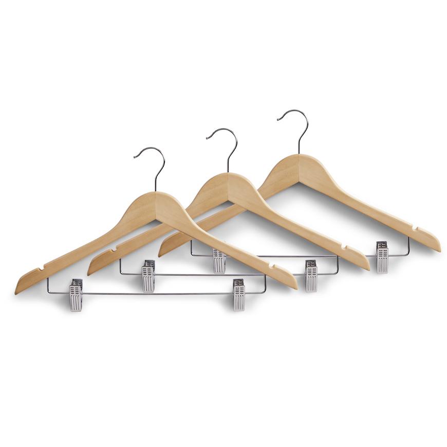 Kleiderbügel m. Clips, 3-er Set, natur