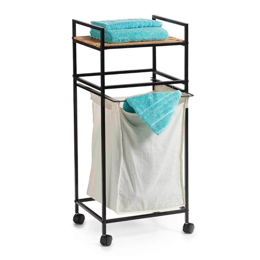 Wäscherollwagen m. Ablage, Bamboo/Metall, schwarz