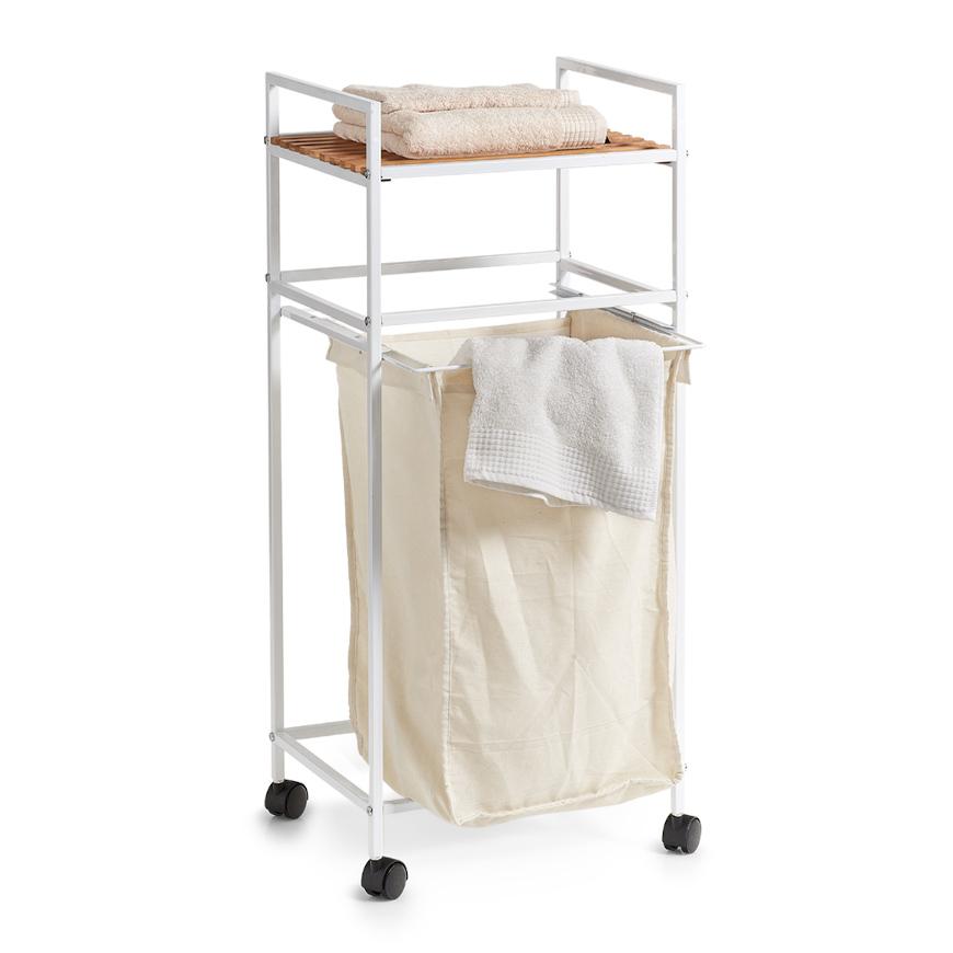 Wäscherollwagen m. Ablage, Bamboo/Metall, weiß