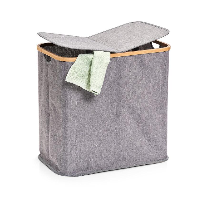 Wäschesammler, 2-fach, Polyester/Bamboo, grau