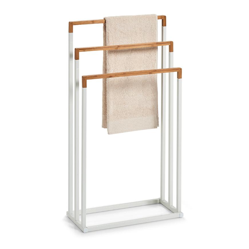 Handtuchständer, Bamboo/Metall, weiß