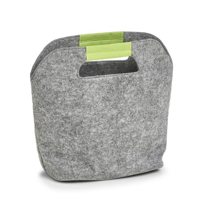 Kühltasche, Filz, grau/grün