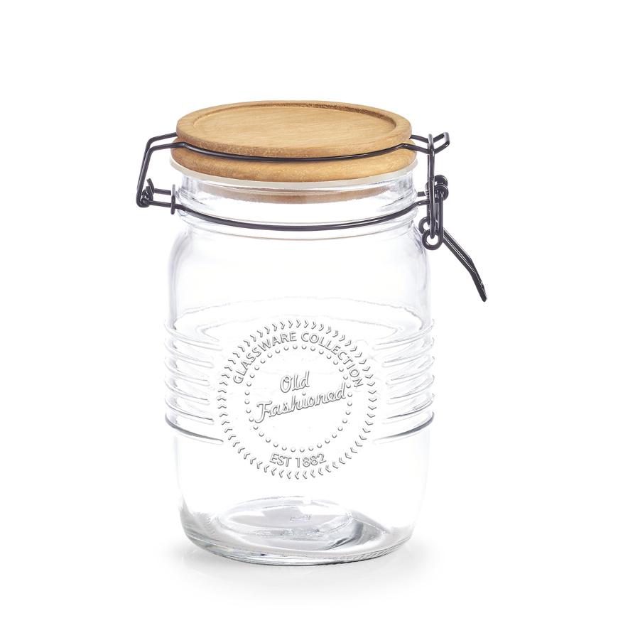 Vorratsglas m. Bügelverschluss, 1000 ml, Holz