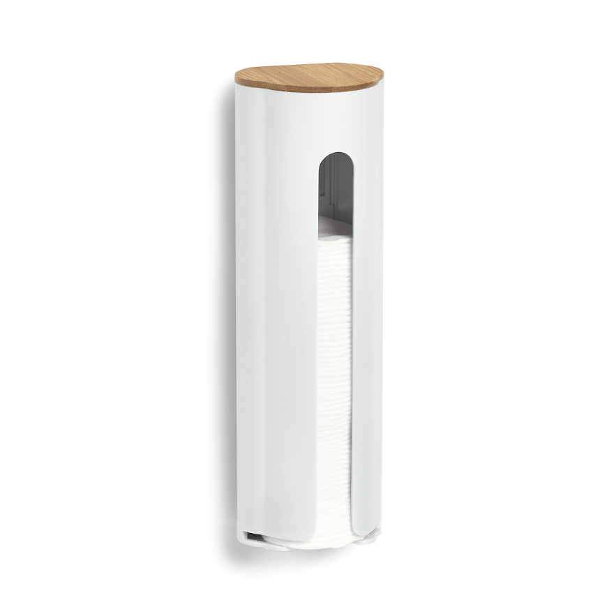 Wattepad-Spender, ABS/Bamboo, weiß