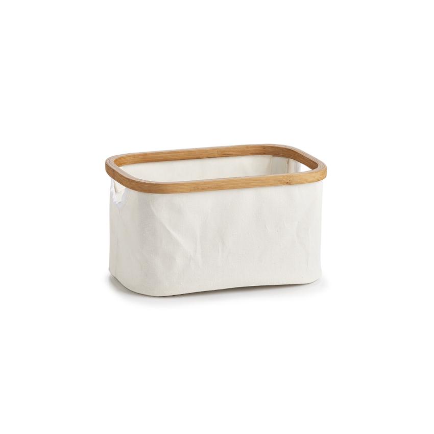 Aufbewahrungskorb, Canvas/Bamboo, creme