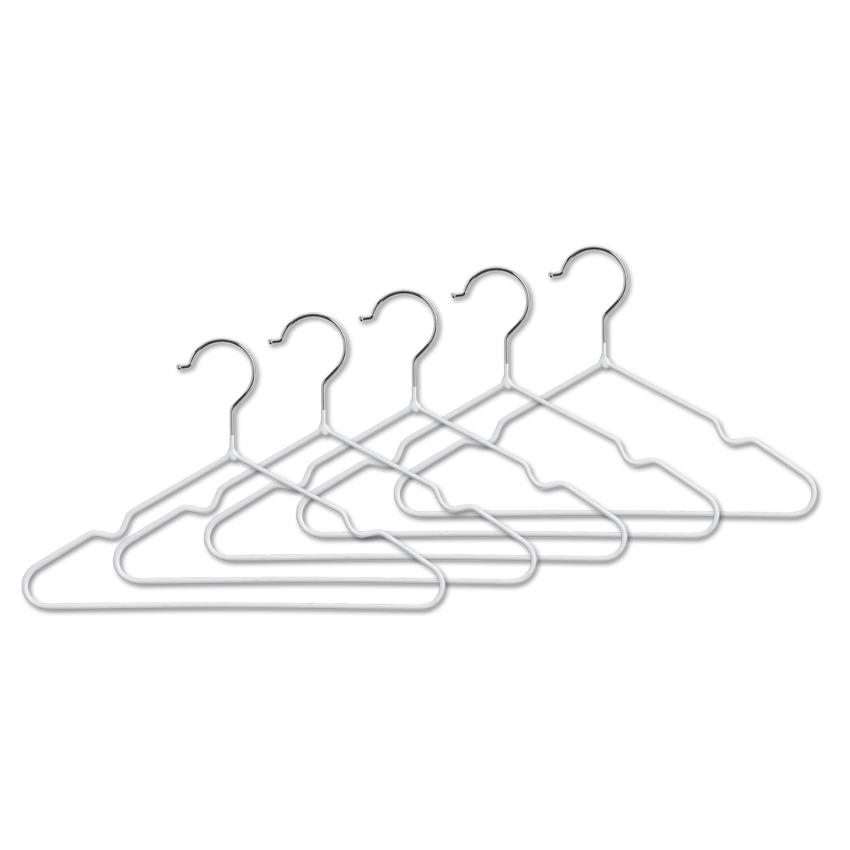 Kids-Kleiderbügel, 5er Set, Metall, weiß