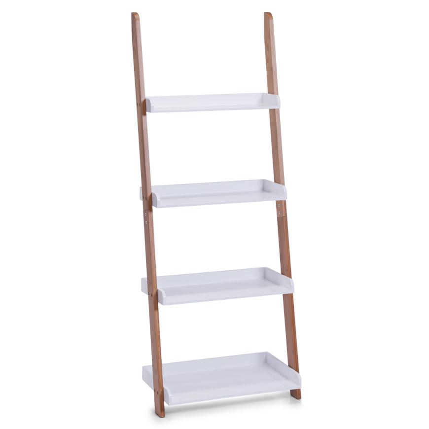 Leiter-Regal m. 4 Ablagen, Bamboo/MDF, weiß