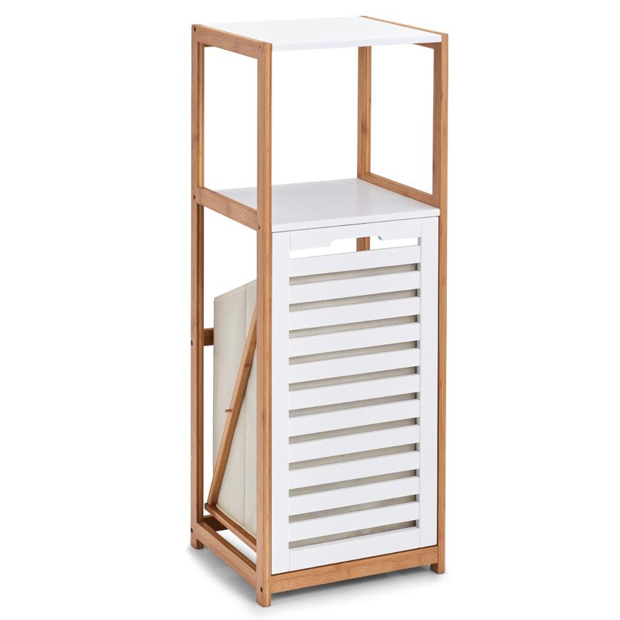 Standregal m. Wäschesammler, Bamboo/MDF, weiß