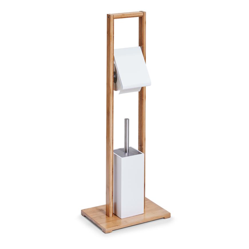 WC-Garnitur, Bamboo/MDF, weiß