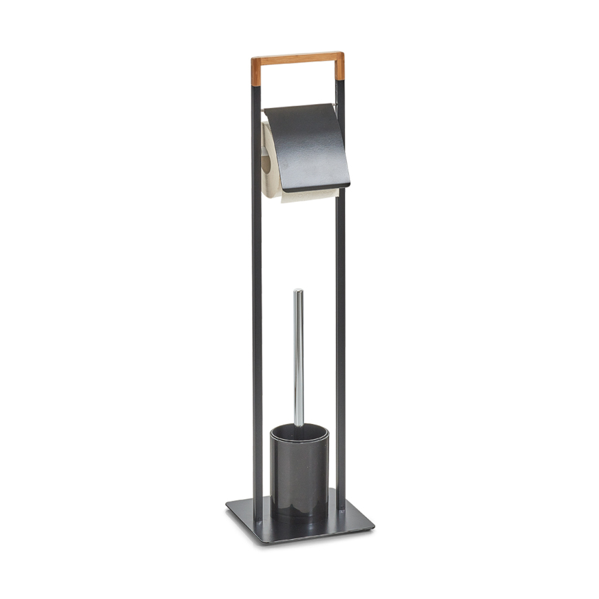 WC-Garnitur, Metall/Bamboo, schwarz