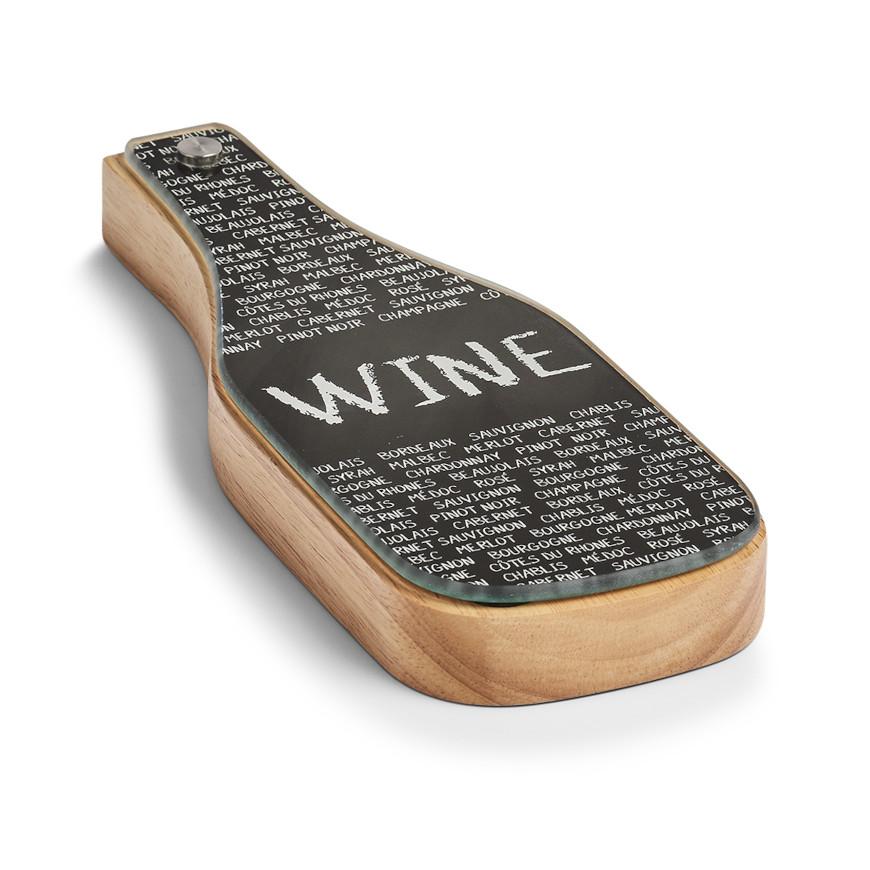Wein-Set, 4-tlg., Gummibaum/Glas/Edelstahl